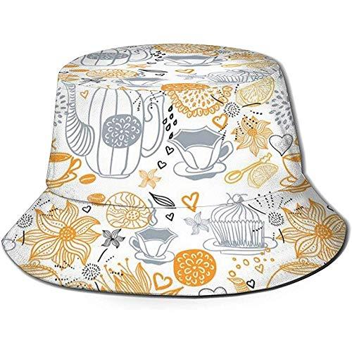Cappello da Pescatore, Composizione Floreale Colorata con Tazze da tè e pentole bollitore Arte retrò Design Natura, Cappello da Spiaggia da Viaggio
