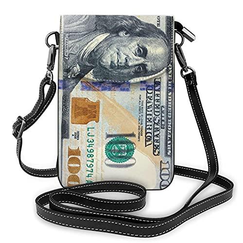 Nuevo billete de 100 dólares para mujer, monedero para teléfono celular, bolsos cruzados, monedero de cuero para teléfono celular, monedero de viaje, bolsos, bolso de hombro duradero con ranuras para
