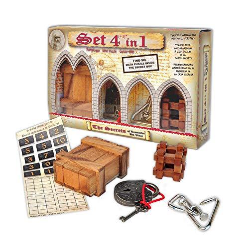 Logica Spiele Art. Set 5 Denkspiele in 1 - Mix Serie Leonardo da Vinci - 2 Geduldspiele aus Holz + 2 Metallpuzzle + 1 Mathematische Spiele - Knobelspiel Set