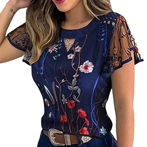 WangsCanis Blusa Top Donna Estivo Camicetta Casual Elegante Vintage con Maniche Corte a Volant in Tulle Ricamo Floreale