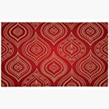 Doormat Door Mat 16x24 Red Handcraft Doily Moroccan Vintage Lacy Delicate Abstract Pattern Indian Scrollwork Flower Unique Machine Washable Non Slip Mats Bathroom Kitchen Decor Area Rug 18x30(IN)