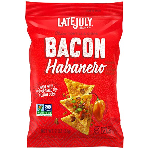LATE JULY Snacks Clásico Bacon Habanero Tortilla Chips, 2 oz. Snack Pack, 6 Count