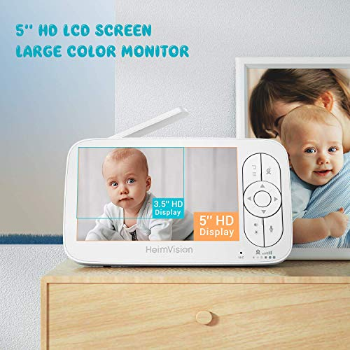 "HeimVision HM136 Video Baby Monitor, 5"" LCD Display, 720P HD, Two-Way Audio, Temperature & Sound Alarm, Security Camera with 110° Wide Angle, Night Vision, Up to 1000ft of Range"