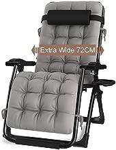 Color : Gray DQCHAIR Sedie a Sdraio da Giardino reclinabili a gravit/à Zero per Persone Pesanti Sedie Pieghevoli a Sdraio Portatili reclinabili con Cuscini e portatazze