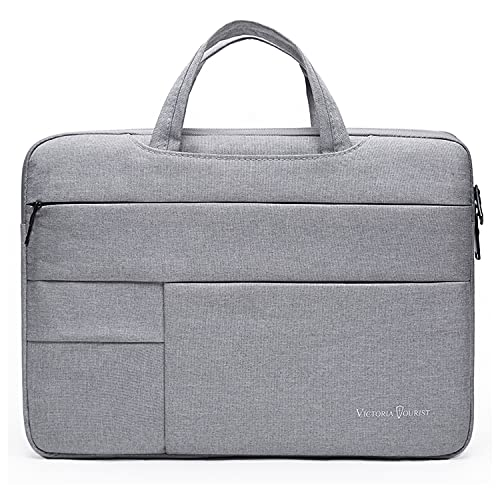Victoriatourist 15 inch Protective Laptop Sleeve Case, Slim Briefcase Handle Bag with 6 Extra Pockets for 15.6/15.4/14 inch MacBook Pro, /HP/Samsung/Asus/Dell/Acer/Chromebook/Notebook/Ultrabook, Grey