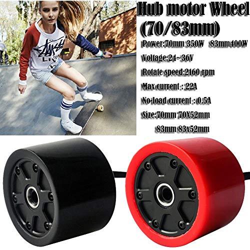 Gorgebuy Skateboard Hub Motor Wheels - 70 / 80mm Skateboard eléctrico Motor sin escobillas Ruedas Kits - Motor eléctrico Ruedas para monopatín Longboard E-Skateboard