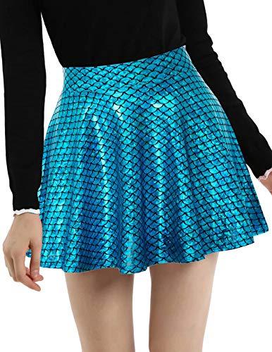 Kate Kasin Women's Shiny Metallic Skater Skirt Fashion Flared Mini Skirt Blue