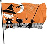 XIAYUTIAN Cute Halloween Witch Girl Cat Broomstick Themed Welcome Party Outdoor Outside Decorations Ornament Picks Home House Garden Yard Decor 3 X 5 Ft