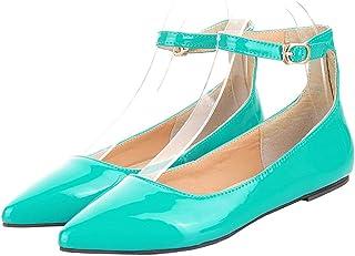 LOVOUO Escarpin Vernis Femme Ballerines Plates Pointues Bride Cheville Chaussure avec Boucle Confortable