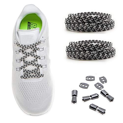 MAXX laces Flache Schnürsenkel Elastische Schuhbänder mit Einstellbarer Spannung, Unsichtbare Verschlußsystem, Ohne Binden, für Sportschuhe, Turnschuhe, Sneakers, Laufschuhe [Schwarz - Weiss]
