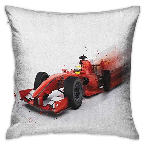 Cars Square Funda de almohada divertida Fórmula 1 Ilustración de coche de carreras con efecto especial Turbo Motion Auto Print Fundas de cojín Rojo Negro Fundas de almohada para sofá Dormitorio Coche
