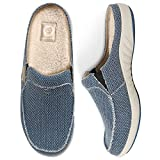 Mens Slippers with Arch Support, Canvas House Slipper for Men with Cozy Fuzzy Wool and Velvet Lining, Slip On Clog House Shoes with Indoor Outdoor Anti-Skid Rubber Sole, Navy