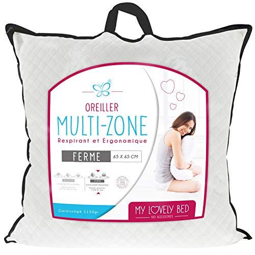 My Lovely Bed - Oreiller Multi-Zone 65x65cm – Respirant et Ergonomique – Confort Ferme – Excellent Maintien des cervicales - Haut de Gamme