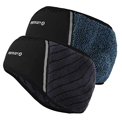 Luxurious Plush Soft Warm Fleece Headband 2 Pack Forehead Windproof Protection Reflective Running Gear Ear Warmer Winter Steel Blue w/Black StripeLake Blue