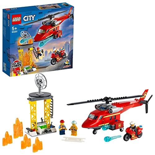 LEGO 60281 City Feuerwehrhubschrauber, Hubschrauber Spielzeug mit Motorrad, Feuerwehrmann und Pilotin als Minifiguren, für Kinder ab 5 Jahre