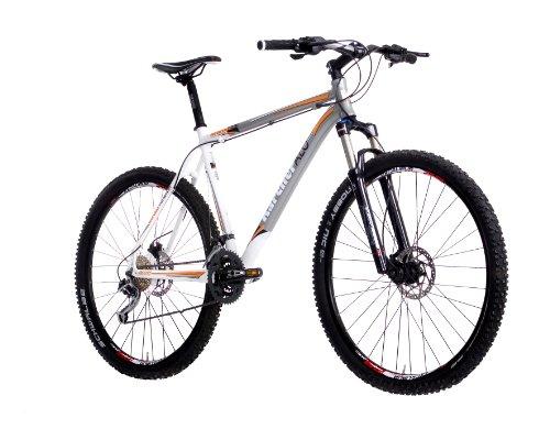 Karcher Alu-MTB Fahrrad, Hardtail 27-Gang Shimano Deore XT Kettenschaltung mit Federgabel und Federsattelstütze, grau/weiß, Rahmenhöhe: 53 cm, Reifengröße: 29 Zoll (73,7 cm), 280279