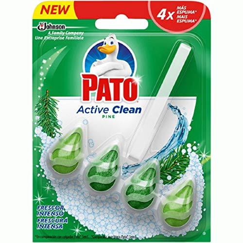 Pato Active Clean Colgador para Inodoro, Frescor Intenso, Perfuma y Desinfecta, Aroma Pino - 38.6 gr