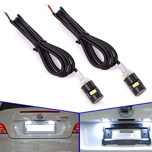 Safego 2pcs 12mm LED para Placa de matrícula Universal Número Motocicleta Coche Tornillo Bolt Freno luz Bombilla Blanco White SMD Cola luz no Canbus