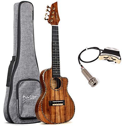 Concert ukulele SOLID ACACIA Deviser 23 Inch cutaway Electric ukulele Soundhole pickup EQ Solid Top Electro Ukelele D12-24 Professional Ukele Ukalalee