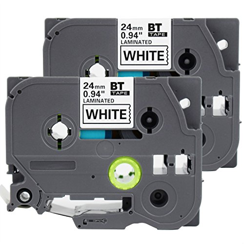 """2 Pack Replacement 24mm 1 Inch(0.94"""") TZe251 TZ251 Laminated Black on White for P-Touch Label Maker PT-D600 PT-P700 PT-P900W PT-P950NW,26.2ft(8m) Length"""