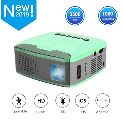 Wendry Mini-projector, draagbare thuisbioscoopprojector met 1080 P HD-LED-lichtbron, instelbare beamer met ingebouwde lens AV/HDMI/USB/TF-groen (110-240 V), EU.