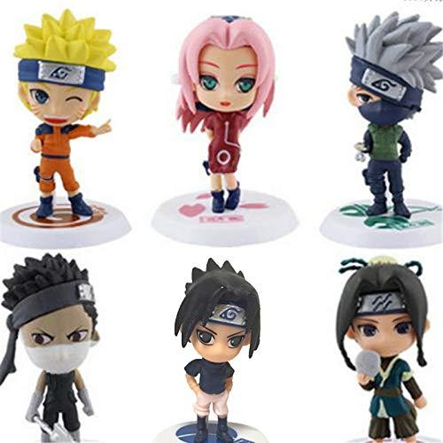 Naruto Mini Action Figures 6 PC Includes Sakura Sasuke Kakashi Zabuza Haku