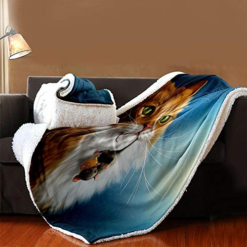 INFANDW Printed Fleece Throw Blanket for Adult Children Bed Blanket, Animal Cat Pattern Soft Blanket Wool Microfibre Blanket Velvet Board Warm Office Nap, Microfibre 53 inch x 59 inch