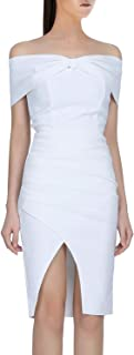 Hego White Ruffles Club Night Out Strapless Evening Sexy Wedding Party Bodycon Bandage Dress for Women H5414
