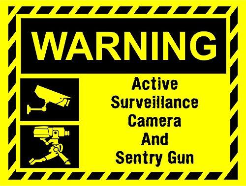 Label - Sécurité - Avertissement - Signe de vidéosurveillance Signe Sentry Gun Team Fortress 2 inspiré de TF2 Signe de composite ultra haute durabilité - 30cmx20cm - bureau, entreprise, école, hôtel