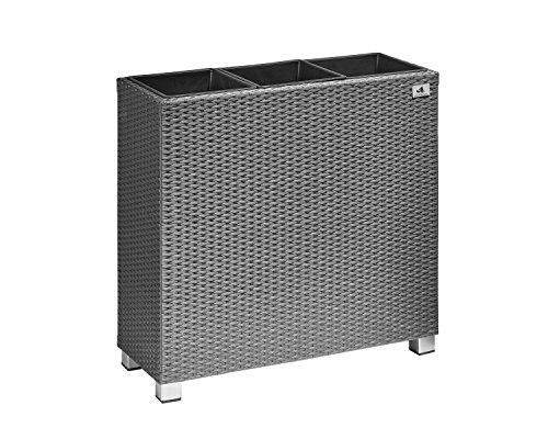 Jardinera Gartenfreude, separador de ambientes de polirratán, inserciones de plástico 3x con pies de aluminio, gris, 76x26x73 cm, 4000-1071-056