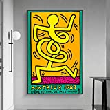cgsmvp Famoso Pop Street Art de Keith Haring Posters e Impresiones Arte de Graffiti Abstracto Pinturas en Lienzo Cuadro de Arte de Pared Decoración del hogar - 60x90cm-Sin Marco
