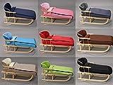 Holzschlitten mit Rückenlehne mit Winterfußsack 108cm Schlitten   10 Farben (Braun)