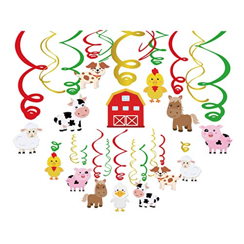 Kristin Paradise 30Ct Farm Animal Hanging Swirl Decorations, Barnyard Party Supplies, Barn Yard Birthday Theme, Petting Zoo Farmhouse Kids Decor First 1st Boys Girls Baby Shower, Sheep Cow Bday Favors