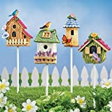 MSR Whimsical Miniature Birdhouse Stakes - Set of 4