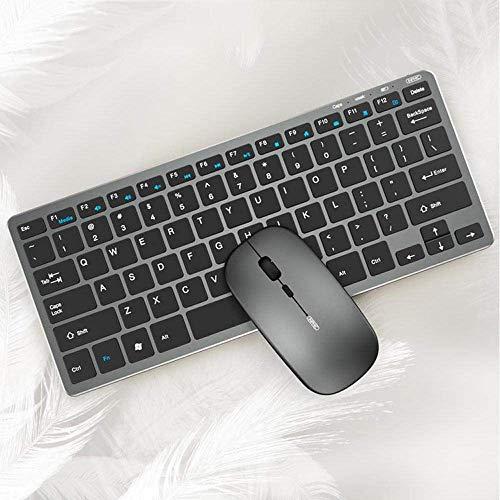 L-YINGZON Teclado Teclado y ratón inalámbricos Oficina de Escritorio Recargable portátil Inicio Tableta USB Ultra-Delgado portátil de Mudo silencioso