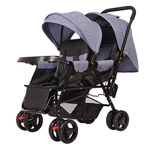 KLEDDP Doppelkinderwagen, Zwillingswagen Doppeldeck Und Zweisitzer Kinderwagen Tablett Spaziergänger (Color : D)