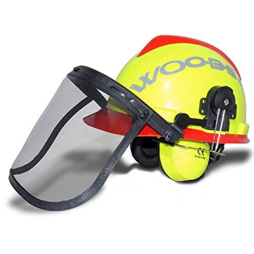 Casco forestale WOODSafe giallo / rosso con protezioni per le orecchie, visiera pieghevole, protezione per il collo - casco protettivo per lavoratori forestali secondo EN 397