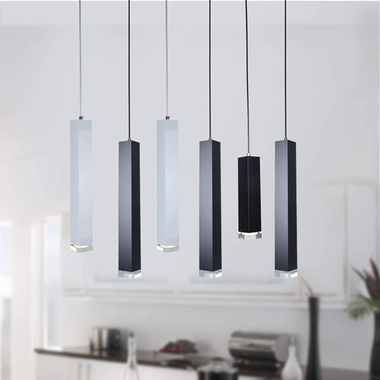 LED Pendelleuchte Dimmbare Leuchten für Island Kitchen Dining Room Bar Dekoration Zylinderrohr Hngelampen, Schwarz, 7W Nicht dimmbar, 305mm, Warmwei