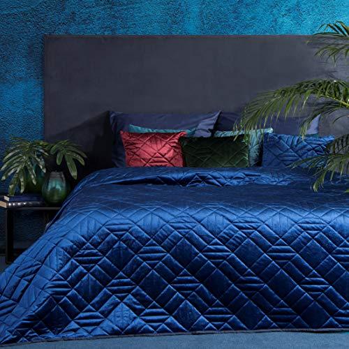 Eurofirany Bettüberwurf Velvet Samt Tagesdecke Gesteppte Decke Überwurf Steppdecke Elegant Edel Glamour Schlafzimmer Wohnzimmer Gästezimmer Lounge, Marineblau, 220X240cm