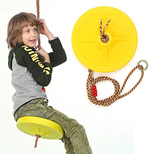 chinejaper schommelstoel, rond, kunststof schotelschommel voor kinderen voor nog meer schwung, inclusief touw, in hoogte verstelbaar, geel, tot 120 kg, vanaf 3 jaar