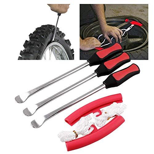 DSENIW QIDOFAN Tire Levers Spoon Set-Heavy Duty Motorcycle Bike Car Tire Irons Tool Kit,3 Pcs Tire Changing Spoon + 2 Pcs Rim Protector Bike Accessories