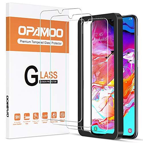 opamoo Protector de Pantalla para Samsung Galaxy A70, [3 Pack] Cristal Templado Samsung Galaxy A70 con Marco de alineación Dureza 9H Sin Burbujas Vidrio Templado para Samsung Galaxy A70