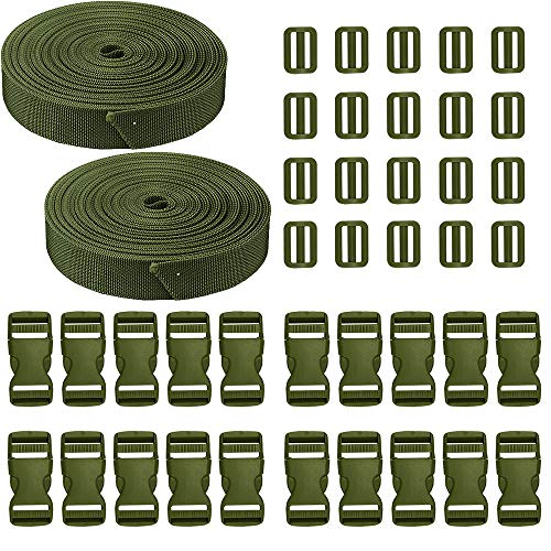 JETEDC(ジェットイデイシイ)Molle スーツケースベルト 荷崩れ防止 ベルト10セット 25mm×10m ワンタッチ式ロックプラスチックロック10個入り 荷締めベルト 作業用ベルト 調整可能 (緑 (2-SET))