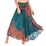 HOOUDO Jupe Longue Femme,Jupe Indienne Femme,Jupe RéTro,Solide Hippie BohèMe Gypsy Boho Fleurs Taille éLastique Floral Halter Jupe Robe A-Green Taille Unique