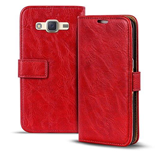 Verco Galaxy J1 (2016) Hülle, Premium Handy Schutzhülle für Samsung Galaxy J1 Hülle PU Leder Wallet Tasche Retro Flipcase, Rot