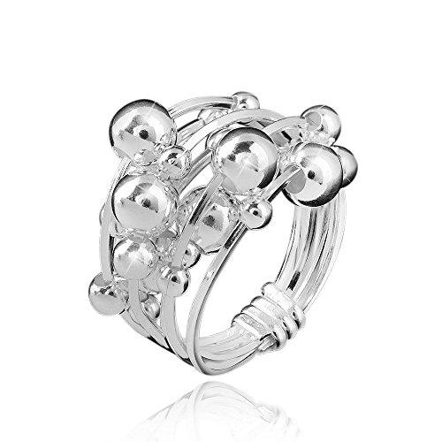 MATERIA Schmuck 925 Silber Ring Kugel 8,1g - Damen Ring breit bewegliche Kugeln - Größe: 16 17 18 19 20 mm #SR-34, Ringgrößen:59 (18.8 mm Ø)