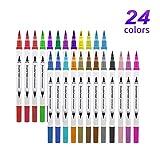 Juego de 36 rotuladores para colorear, con base de agua, punta de pincel y punta fina para niños y adultos, para dibujar bocetos, colorear, resaltar y subrayar 24 colores