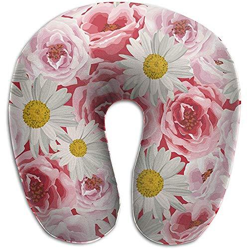 LisaArticles Cojines,Románticas Flores De Color Rosa En Forma De U Al