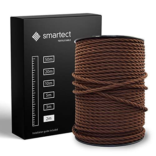 smartect Textilkabel Braun - 2 Meter Vintage Lampenkabel aus Textil - 3-Adrig (3 x 0.75 mm²) - Stoffummanteltes Stromkabel für DIY Projekt