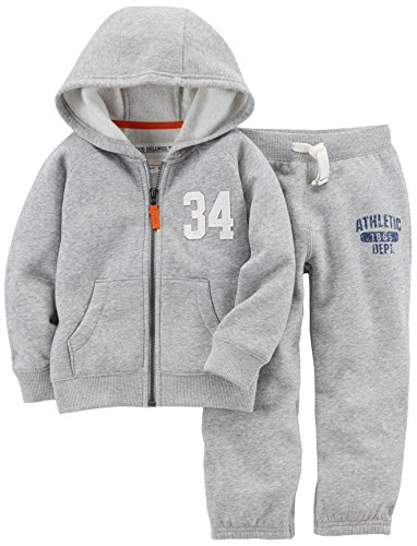 Carter's Baby Boys' Fleece Hoody and Pant Set, Grey, 9 Months